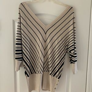 Cream and black WHBM top, size M